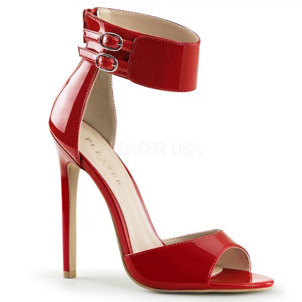 High Heel Sandalette mit breitem Fesselriemchen rot Lack SEXY-19
